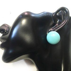VTG BAKELITE robin's egg blue button clip earrings